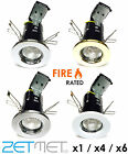 1/4/6 x Fire Rated Fixed GU10 LED Recessed Ceiling Downlights Spotlights Lights