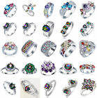 Fashion Charm Colorful Gemstone 925 Silver Sterling Rings Wedding Jewelry #6-11