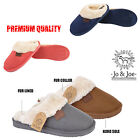 LADIES SLIP ON MULES WARM WINTER HARD SOLE SOFT FUR LINED WOMENS SLIPPERS SHOES