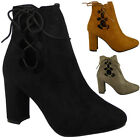 SALE LADIES WOMENS CHUNKY HIGH BLOCK HEEL LACE UP CUTOUT ANKLE BOOTS SHOES SIZE