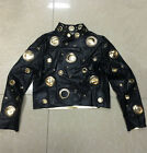 2017 Autumn Winter Metal Ring Hollow Out Black Gold Long Sleeve Leather Jacket