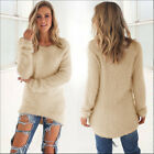 US New Womens Warm Long Sleeve Crew Neck Top Pullover Sweater Jumper Sweatshirt