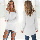 US New Womens Warm Long Sleeve Crew Neck Top Pullover Sweater Jumper Sweatshirt фото