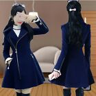 HQT Womens fashion slim wool coat winter warm long outwear zip lapel jacket blue