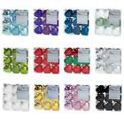 Christmas Tree Decoration 9 Pack 40mm Shatterproof Heart Baubles - 14 Colours