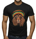 Men's Jamaican Beanie Lion Black T Shirt Reggae Rasta Rave Dance Weed Kush Music
