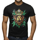 Men's King Of Weed Lion Black T Shirt Reggae Rasta Kush Cannabis Marijuana Beast