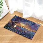 Abstract Watercolor Scenery Painting Waterproof Shower Curtain Rugs Mat&12 Hooks