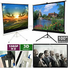 "125x125cm Foldable Tripod Projector Projection Screen & 100"" Home Cinema Theater"