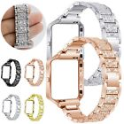 Rhinestone Link Bracelet Band Strap Stainless Steel Metal Frame For Fitbit Blaze