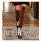 Womens Roma Mixed Colors Lace Up Flat Shoe Over Knee Thigh High Riding Boots SZ