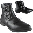 SALE Womens Ladies Flat Faux Leather Buckle Low Heel Ankle Army Boots Shoes Size