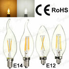 6 x E14/E12 2W 4W Edison Filament LED Bulbs Chandelier Candelabra Candle Light