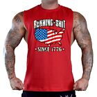 Men's USA Flag Map Running Sh*t Since 1776 Red T-Shirt Tank Top Workout American image