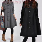 Womens Fashion Warm Single Breasted Cotton Turtle Neck Swing Long Coats Jackets