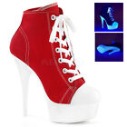 PLEASER DELIGHT-600SK-02 RED CANVAS LACE-UP PLATFORM SNEAKER BOOTS UK 3-9