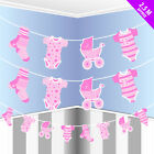 BABY SHOWER BUNTING BLUE PINK GIRLS BOYS 2.5 M DECORATION PARTY UNISEX BANNER
