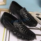 Men's Leather Crocodile Pattern Square Toe Casual Loafers Shoes Oxfords Slip On