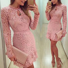Wome Sexy Lace Bodycon Dress Long Sleeve Evening Party Cocktail Short Mini Dress