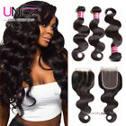 UNice Malaysian Hair Body Wave 3 Bundles With 4x4 Lace Closure Human Hair Weaves