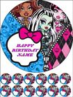 """EDIBLE ROUND 7,5"""" MONSTER HIGH BIRTHDAY CAKE TOPPER AND 12 CUPCAKES TOPPERS 1.2"""""""