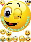 """EDIBLE ROUND 7,5"""" EMOJI BIRTHDAY CAKE TOPPER AND 10 CUPCAKE TOPPERS"""