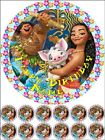 """EDIBLE ROUND 7,5"""" MOANA BIRTHDAY CAKE TOPPER AND 12 CUPCAKE TOPPERS"""