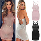 backless dresses uk - Women Sheer Backless Halter Bandage Bodycon Evening Party Cocktail Mini Dress US