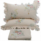 4PCS Floral Printed Beautiful Rose Fitted Sheet Flat Sheet & Ruffled Pillowcases image