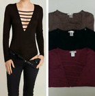 D2D Junior Size Sexy Spandex Cleavage V-neck Long Sleeve BodySuit Button Closing