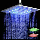 Shower Head LED Colorful Chrome Brass Rainfall Bathroom Square  Ceiling Mount