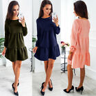 Fashion Women Summer Casual Long Sleeve Party Evening Cocktail Short Mini Dress