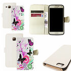 pu leather wallet case for majority Mobile phones - pink swirl butterfly white