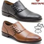 Mens Leather Smart Formal Office Casual Side Lace Oxford Brogue Shoes Size