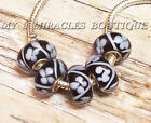 Black Field of Flowers White European Style Charms Glass Beads 20 for Bracelets