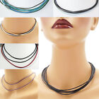 Multi-Strand 2 mm Leather Cord Necklace or Choker Custom Length Colors Handmade