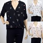 UK Ladies Womens Fashion Print Trail Blouse Printed Blouse Top Black Pink White