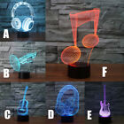3D LED Nightlight Color Change Lamp Guitar Headphone Trumpet Musical Note Figure