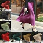 Women Vintage Colors Pleated Swing Midi Skirt Elastic Waist Flared Skater Skirts