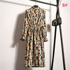 UK Vintage Womens Floral Stripes Long Sleeve Ladies Casual Paty Long Shirt Dress