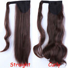 US Real Clip In Ponytail Pony Tail Hair Extension Wrap On Hair Piece Curly Wavy