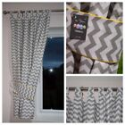 GREY CHEVRON Curtains  Nursery Baby Room TAB TOP CURTAINS TIEBACKS 150 x150 CM