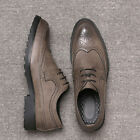 Men's Leather Shoes Dress Formal Lace up Brogue wing tip Wedding Suit Oxfords