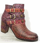 LAURA VITA ANNA LEATHER BOOTS WINE QUIRKY DESIGN SIDE ZIP BUCKLES EMBOSSED