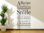 """Wall Art Sticker """"a Recipe For Happiness.."""" Wall Quote, Vinyl Modern Transfer"""
