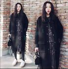 Womens Woolen Blend Slim Stand Collar Jacket Trench Parkas Long Coat Outwear