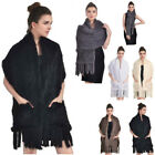 100% Real Knitted Rabbit Fur Stole Cape Shawl Scarf Long Shawl Womens Hot Latest