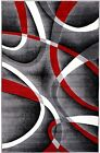 NEW AREA RUG (#34) GRAY RED LINES - APRX SIZES: 2'X3' 2'X7' 4'X5' 5'X7' & 8'X11'