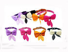 Fashion Dog Collar Pet Cat Puppy Decor Bowknot Adjustable PU Leather US STOCK