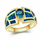 925 Silver Plated Wedding Ring S925 Stamped Blue Synthetic OPAL Ring Xmas Gift